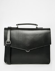 River Island Envelope Workbag In Faux Leather Black