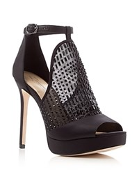 Imagine Vince Camuto Keir Rhinestone Peep Toe Platform Sandals Black