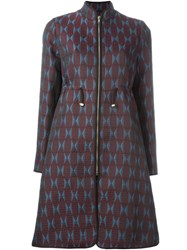Mary Katrantzou Farfelle Jacquard Coat Pink And Purple