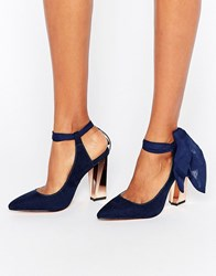 True Decadence Ankle Tie Detailed Heeled Shoes Navy Microfibre