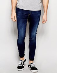 Pull And Bear Pullandbear Super Skinny Jeans In Dark Wash Blue Blue