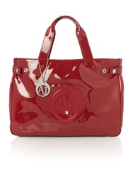 Armani Jeans Red Patent Tote Bag Red
