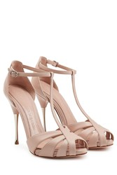 Alexander Mcqueen Leather Peep Toe Sandals Rose