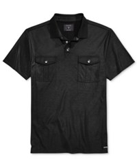Guess Men's Mason Military Polo Jet Black
