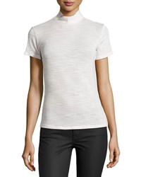 Halston Short Sleeve Turtleneck Top Light Bone