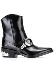 Toga Buckled Cowboy Boots Black