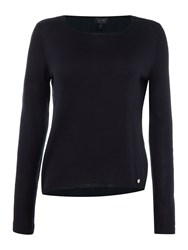 Armani Jeans Crew Neck Sweater With Woven Hem Navy