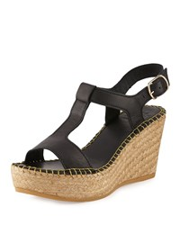 Andre Assous Lemon Leather Wedge Sandal Black