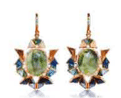 Nak Armstrong Recycled 18K Rose Gold And Recycled 18K Yellow Gold Earrings With One Of A Kind Emerald White Sapphire Tourmaline Tanzanite Sapphire Aquamarine Brown Sapphire Black Spinel Diamond Green