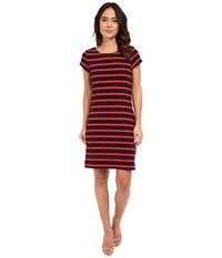Hatley T Shirt Dress Navy Orange Stripe Women's Dress Red