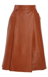 Paule Ka Leather A Line Skirt Brown