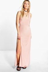 Boohoo Racer Back Strappy Maxi Dress Nude