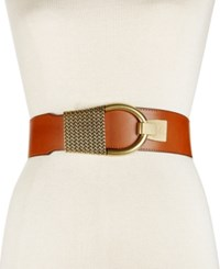 Inc International Concepts Hook Front Stretch Belt Only At Macy's Cognac