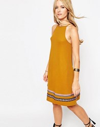Asos Rib Swing Sundress With Tape Trim Rust Orange