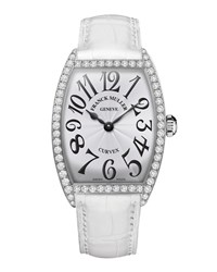Ladies Curvex Diamond Watch With Alligator Strap Franck Muller Silver