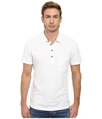 7 For All Mankind Raw Placket Polo White Men's Short Sleeve Pullover