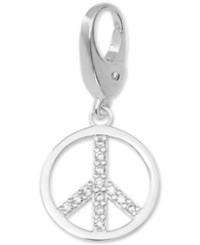 Macy's Crystal Peace Sign Clip On Charm In Sterling Silver