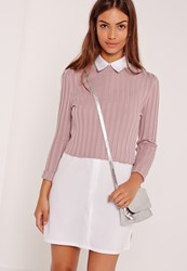 Missguided Extreme Rib Basic Crop Jumper Purple Mauve