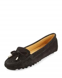 Neiman Marcus Bruna Woven Suede Loafer Black