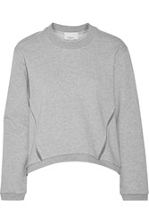 3.1 Phillip Lim Silk Trimmed Cotton Sweatshirt Gray