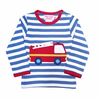 Toby Tiger Fire Engine T Shirt White Red Blue