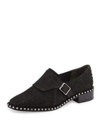 Adrianna Papell Pierce Leather Studded Oxford Black