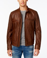 Lucky Brand Men's Leather Cafe Racer Jacket Brown