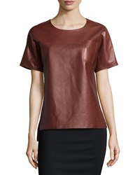 Jason Wu Short Sleeve Leather Tee Sienna Brown
