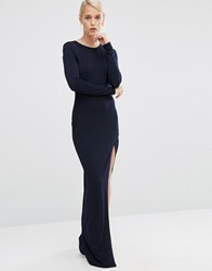 Asos Crepe Long Sleeve Maxi Dress With Mesh Insert Navy