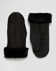 Dents Inverness Suede And Sheepskin Mittens In Black Black