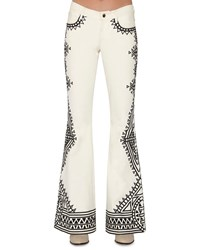 Alice Olivia Ryley Embroidered Low Rise Flare Jeans White Women's Size 28