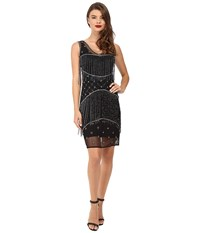 Unique Vintage Beaded Fringe Mesh Flapper Dress Black Gunite Women's Dress