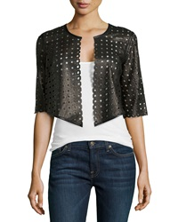 Milly Perforated Cropped Jacket Black