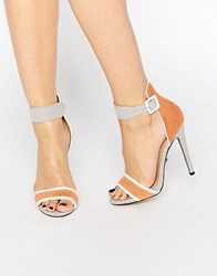 Ravel Colour Block Heeled Sandals Peach Grey