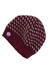 Canada Goose Women's Bird's Eye Knit Wool Beanie Red Niagara Grape Limestone
