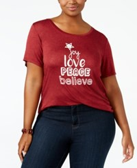 Ny Collection Plus Size Joy Graphic T Shirt Burgundy