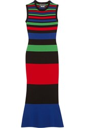 Boutique Moschino Striped Stretch Knit Midi Dress Red Blue