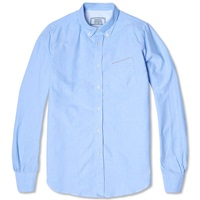 Officine Generale Button Down Japanese Selvedge Oxford Shirt Sky