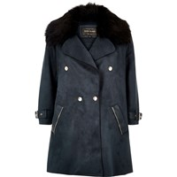 River Island Womens Navy Faux Fur Trim Double Breasted Coat