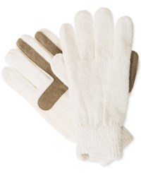 Isotoner Signature Chenille Knit Palm Smart Touch Tech Gloves Ivory