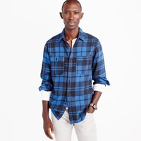 J.Crew Wallace And Barnes Heavyweight Flannel Shirt In Brown Check