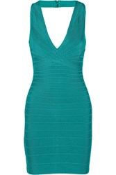 Herve Leger Nadya Bandage Halterneck Dress Green