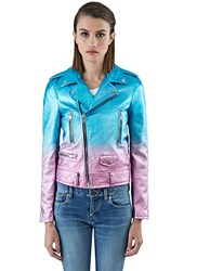 Saint Laurent Metallic Leather Motor Jacket Blue