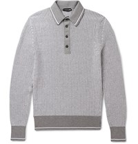 Tom Ford Slim Fit Cotton And Silk Blend Polo Shirt Gray