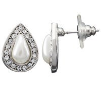 John Lewis Faux Pearl And Diamante Teardrop Stud Earrings Silver