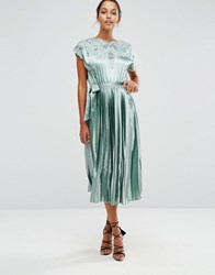 Asos Lace Top Satin Pleated Midi Dress Mint Green