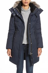Mackage Hooded Long Down Coat With Genuine Coyote Fur And Genuine Shearling Trim Navy