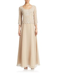 J Kara Plus Three Quarter Sleeve Filigree Sequined And Beaded Chiffon Gown Champagne White