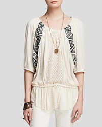 Free People Tunic New World Jersey Butterfly Ivory