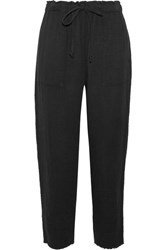 Raquel Allegra Crinkled Cotton Gauze Tapered Pants Black